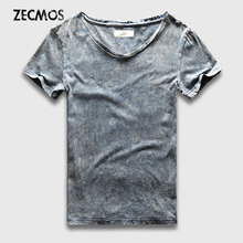 Street Fashion T-Shirt Men Slim Fit V Neck Marble Black Wash T Shirts For Men Vintage Cotton Top Tees Male Acid Heavy Washed(China)
