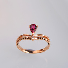 Robira Wedding Ring 18K Gold Rings Semi-Precious Tourmaline Finger Ring Jewelry for Women WholeSale Fashion Engagement Gift