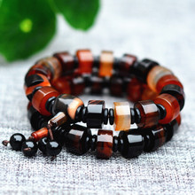 Natural Black red Chalcedony Bracelets Hand String Bracelet Bangles Gift for Men's Fashion Stone Jewelry(China)