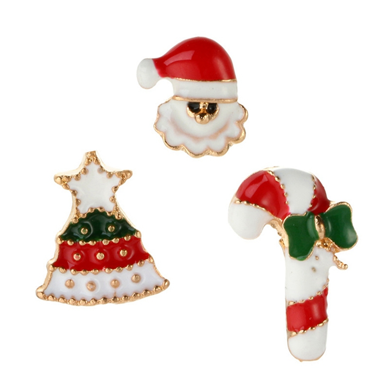 3Pcs/Set  Christmas Gifts Pins And Brooches For Women Christmas Snowman Crutches Brooch Female