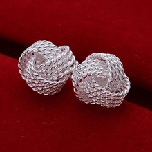 E013 High Quality! Wholesale Low Price Silver Plated Fashion Jewelry Unique Nets knit Knot Ear Studs Earrings