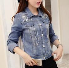2017 new womens denim jacket spring autumn beading sequined blue jeans coat fashion casual clothing a298