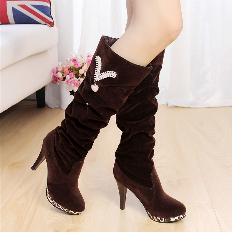 Size 35-39 Spring and Winter Crystal Women Thigh High Boots Shoes Female Over The Knee Boots High Heel Shoes Ladyknee High Boots<br><br>Aliexpress