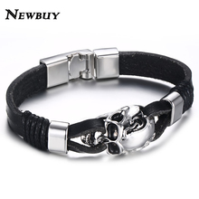 NEWBUY Punk Rock Men Black Genuine Leather Bracelets Gothic Skull Cuff Bangle Stainless Steel Skeleton Pulseiras Masculinas(China)