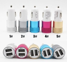 10pcs/lot Best Metal Dual USB Port Car Charger Universal 12 Volt / 1 ~ 2 Amp for Apple iPhone iPad iPod / Samsung Galaxy