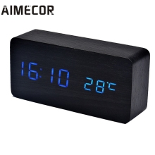 Aimecor acoustic control sensing Temperature Sounds Control LED electronic desktop Digital Alarm Clock u61219