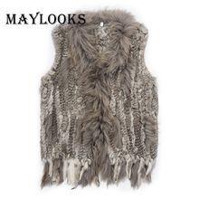 18 colors Women Genuine Knitted Rabbit Fur Vests with tassels Raccoon Fur Trimming Waistcoat wholesale drop shipping CS79