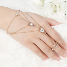 2017 New Fashion Hand Palm Bracelet Connected Finger charm free Design bohemia Fashion Slave Bracelet for Women gift(China)