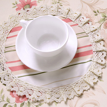 Modern Round Lace Placemats Table Blue Pastoral Tablemats Elegant Striped Doily Desk Accessories Fabric Lace Doilies