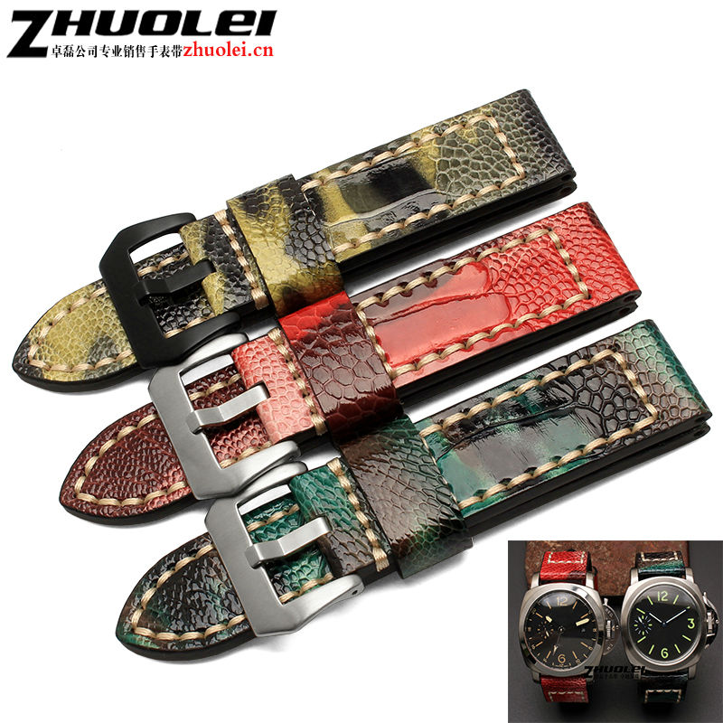 20mm 22mm24mm 26mm camouflage Real Genuine Ostrich Skin Leather Watchbands Straps Accessrioes Bracelets stainless steel buckle<br>