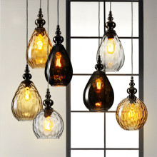 Nordic Vintage Glass Led Pendant Light Loft Style Creative Retro Pendant Lamp Coffee Droplight Dinning room Hanging Lamps Deco