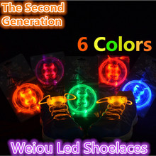 Free ShippingParty Skating Charming LED Flash Light Up Glow Shoelaces Shoe Laces Shoestrings Battery included