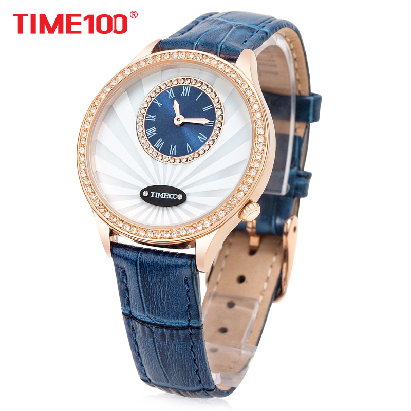 Time100 Fashion Womens Watches big face Blue Leather Strap Diamond Quartz Watches Casual Ladies Wrist Watch Relogio Feminino<br>