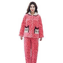 New Winter Thick Warm Women Flannel Pajamas Set Coral Fleece Turn-down Collar Comfortable Soft Cute Cartoon Ladies Pyjama(China)