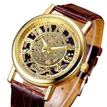 1 Pair Classic Hollow Skeleton Mechanical Watch Saat Clock Hours Couple Men's Watch Leather Strap Wrist Ladies Women Watches