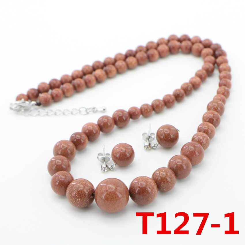1 Natural Stone gold Sand Beads Necklace Earring ear nail Fashion DIY Jasper Chalcedony (16)