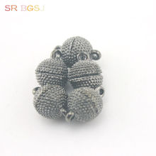 Free Shipping 5pcs 10mm Round Ball Vintage Black Jewelry Making Magnetic Magnet Clasp