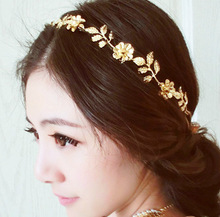 Fashion gold leaf tiaras Indian Hair jewelry accessories Metal Flower haarschmuck Hair band rhinestone hoop For women CF086(China)