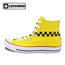 Original Design TAXI Doors Logo Mark Yellow Color Hand Painted Shoes Converse Chuck Taylor Unisex High Top Canvas Sneakers(China)