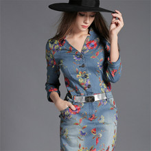 Denim dress 2017 new women dress impressão gola v pêndulo vestidos cowboy slim borda da folha de lótus arco casual dress vestidos