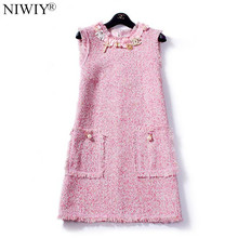 NIWIY Brand Dress Sweet Diamonds Bead Pink Dress Robe Hiver 2017 Autumn Tweed Woolen Women Dress vestidos Robe Femme Jurken 2698(China)