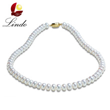 Noble Pearl Necklace Gift For Mother 100% Real Freshwater Pearl Jewelry Bridal Choker Jewelry Wedding Gifts Elegant collares(China)