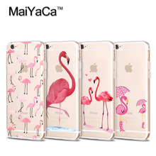 MaiYaCa  The latest  flamingos, red animal birds are transparentTPU Silicone Phone For iPhone 6 case