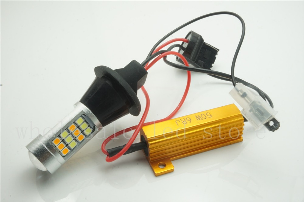 2pcs T20 7440 LED Dual Color White/yellow Switchback LED DRL Turn Signal Light Error Free Canbus<br><br>Aliexpress