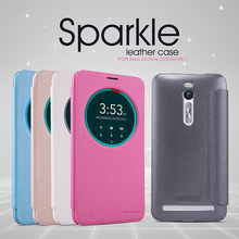 NILLKIN Sparkle flip Leather with smart view window hard plastic back cover phone case for asus zenfone 2/ze551ml free shipping