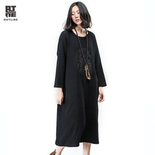 Outline Spring Women Casual Dress Black Embroidery Full Sleeve O-neck Mid-Calf Dresses Plaid Straight Cotton Loose DressL163Y024