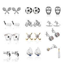 Upscale French Cufflinks sports equipment model Cufflinks / Bike / / football / table tennis / golf / athlete shirt accessories