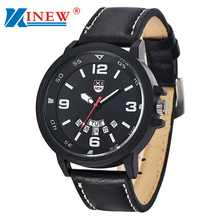 XINEW Top Brand Watch Fashion 2016 New Men's Leather Band Watches Military Sport Analog Date Wrist Watch montres relojes mujer
