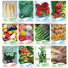 12 Original Packs, White Asparagus Seeds Watermelon Pitaya Bell Pepper Flowers Coffee Bean Vegetables Seeds Combo #NF188