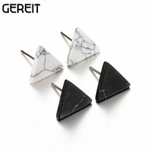 GEREIT New Design Fashion Simple Triangle Geometric White Black Faux Marble Stone Stud Earrings For Women Party Daily Jewelry(China)