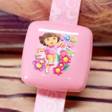 Hot Sale 100 Pieces/Lot LED Digital Children Watch With Mirror Cap For Girls Dora The Explorer Cartoon Character Kids Watches(China)