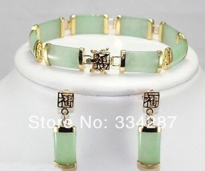 nice Light green jade bracelets earrings Set title=