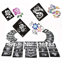 60pcs mixed 193styles Glitter Tattoo stencil Body Painting design airbrush Temporary Tatoo Kit template supplies Free shipping(China)