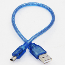 30cm Sync Mini 5P USB Cable USB-A to Mini 5P B Data Cable For MP3/4 Speakers Cameras Dual Shielding High Speed Blue(China)
