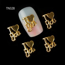 Blueness 10pcs/LOT gold alloy decoration for nail love designs 3d Decoration nail art accessories gems nail tips tool TN328(China)