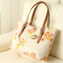 Korean style hot sale women simple big shoulder bag floral print contrast color all match Europe and america fashion style bag