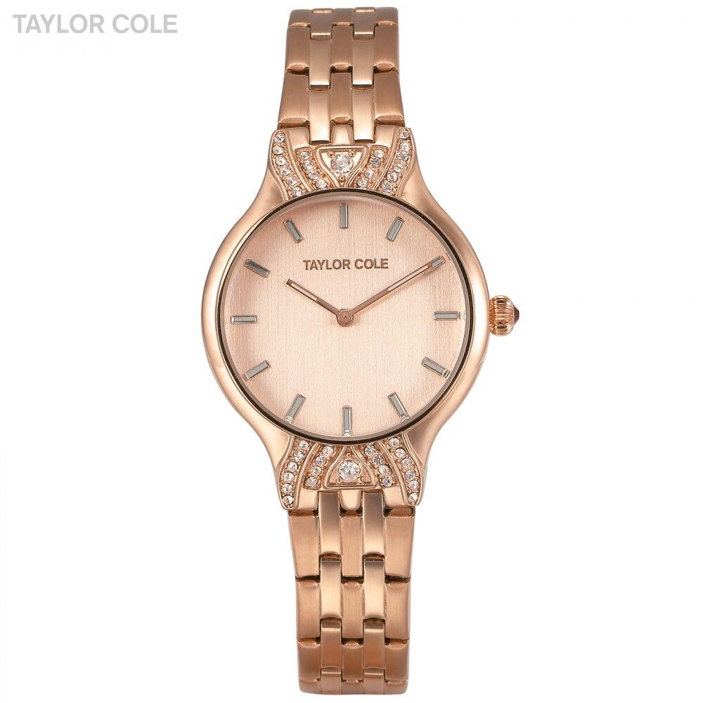 Taylor Cole Crystal Watches Women Rose Gold Watch Steel Strap Sparkling Dress Clock Quartz Wristwatch Montre Femme Gift /TC094<br>
