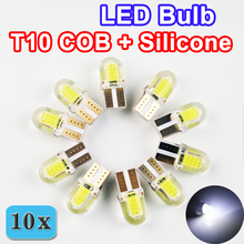 10 PCS Auto LED T10 COB+Silicone Shell 20 Chips Cold White Color W5W 12V Canbus Car Side wedge/License Plate Lamp Bulb