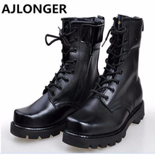 AJLONGER Retro Combat Boots Winter England Style Fashionable Men's Short Black  Motorcycle Boots Martin Mid-Calf Boots