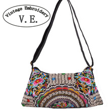 Vintage Embroidery Women Bag Hmong Handmade Embroideried Bag Shoulder Messenger Bag Boho Mandala Handbag For Ladies Bolsa(China)