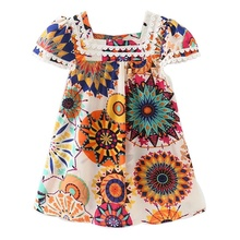 Baby Dress Summer Cute Baby Girl Colorful Vintage Printing Soft Cotton Sunflower Dresses