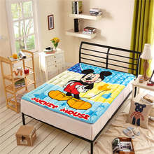 Disney Cartoon Mickey Mouse Printed Mattress Protection Pad Mattress Topper Bedding Children Children Bed Flannel Polyester Blue(China)