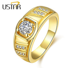 USTAR Yellow gold color MEN Rings Jewelry stainless steel zirconia crystals finger wedding rings male anel bijoux top quality