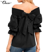 Buy Sexy Shoulder Tops Celmia 2018 Summer Strapless Women Blouse Bowknot Slash Neck Shirts Casual Loose Plus Size Blusa Feminina for $7.99 in AliExpress store