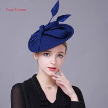 Fairy Dreams Women Formal Hats 2017 Chapeau Mariage Masculino Blue Red Wool Ladies Elegant Fascinators Headgear Use for customer(China)