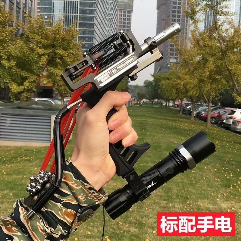 Hot Sale 3 Rubber Bands Adult Hunting Slingshot Powerful Slingshot Folding Wrist Black Slingshot Catapult for Outdoor Games<br>